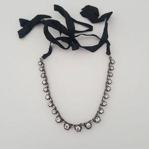 CZ and black ribbon choker